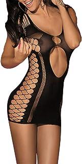 Lvyi Damen-Mini-Kleider, sexy, nahtlos mit Ausschnitten, Bodysuit, Nachtwäsche, Dessous für Sex
