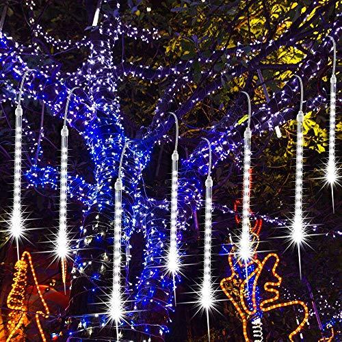 LED Eiszapfen Lichterkette Außen, EEIEER Meteorschauer Lichterkette 30cm 192 LEDs 8Tube Falling Rain Drop Light Wasserdichte für Weihnachten Halloween Party Urlaub Garten Baum Thanksgiving Deco(Weiß)