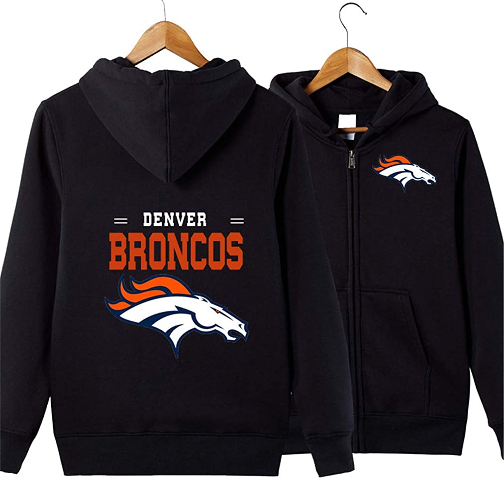 JJCat Men's Hooded Long Sleeve Letters Print Denver Broncos Team Solid Color Zipper Hoodies