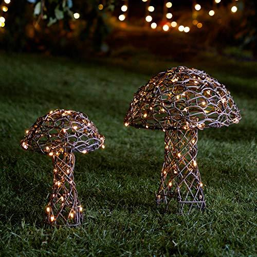 Lights4fun Juego de 2 Setas Luminosas en Ratán con LED Blancos Cálidos a Pilas para Exteriores
