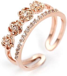 Anello da donna regolabile, argento 925,4rose con zirconi, anello di fidanzamento, anello doppio