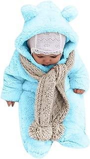 WOCACHI Baby Fleece Jumpsuits, Unisex Infant Newborn Plush Sleepwear Zipper Hooded Romper Warm Coat Bear Ear Snowsuit