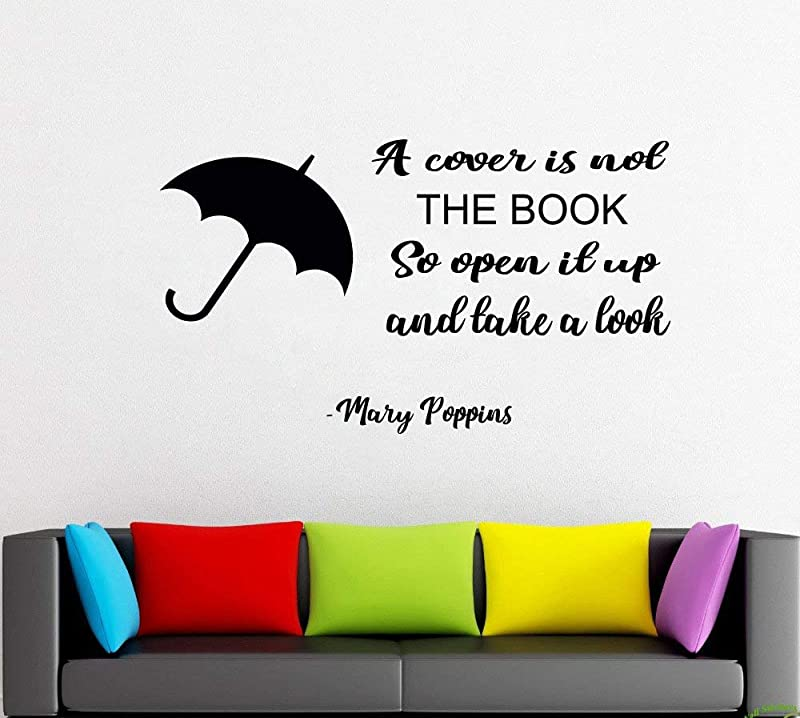 Mary Poppins Wall Decals Decor Mary Poppins Quotes Art Stickers Decorations Vinyl Pictures For Office Studio Shop Home Kids Nursery Room Bedroom Door Window MP008