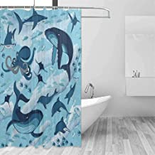 DONEECKL Polyester Shower Curtain Shark Inhabitants of Ocean Sharks Whales Dolphins Octopus Jellyfish Starfish with Waves Image Colorful and Interesting W40 xL72 Blue