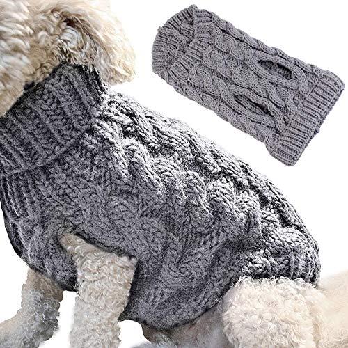 Calculatrice Suéter cálido para perros pequeños y medianos de punto, adecuado para perros de menos de 5 kg (L).