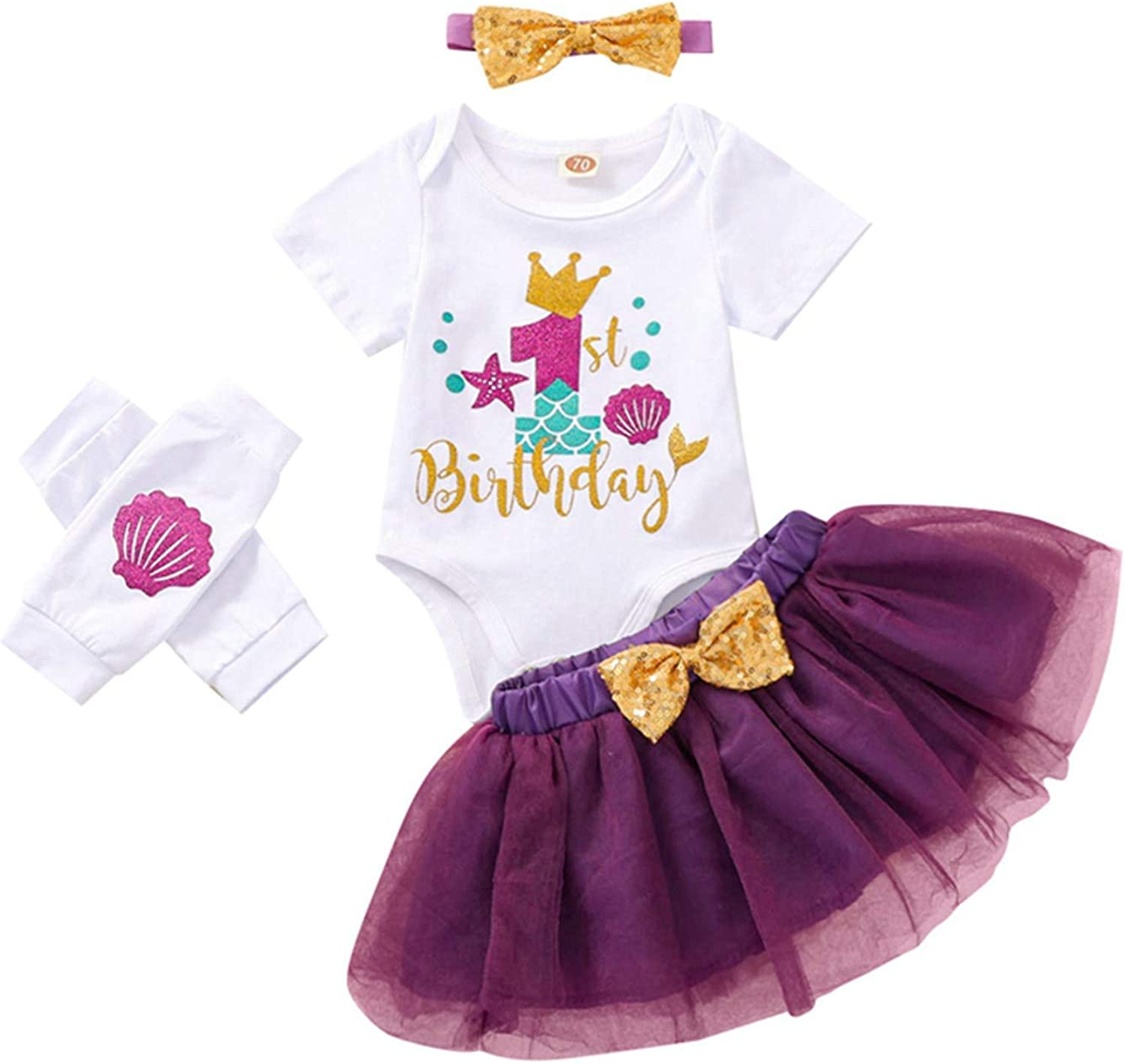 BOWINR Newborn Baby Girl Clothes Letter Outfit Birthday Romper Opening large release sale C store