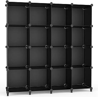【Amazon.co.jp 限定】 チチロバ(TITIROBA) 本棚 収納棚 組み立て式 棚 ラック 大容量 整理棚収納 ボックス 衣類収納 スチール性 インテリア 簡単組立 おしゃれ 多用途 耐久性 省スペース ブラック 16ボックス ZW-05