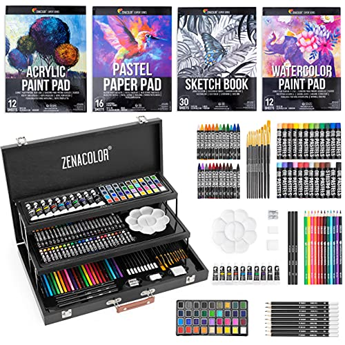 Zenacolor Set Manualidades Maletin pinturas XXL -150 piezas - Dibujo y Pintura - pasteles, pintura acrilica, ceras de...