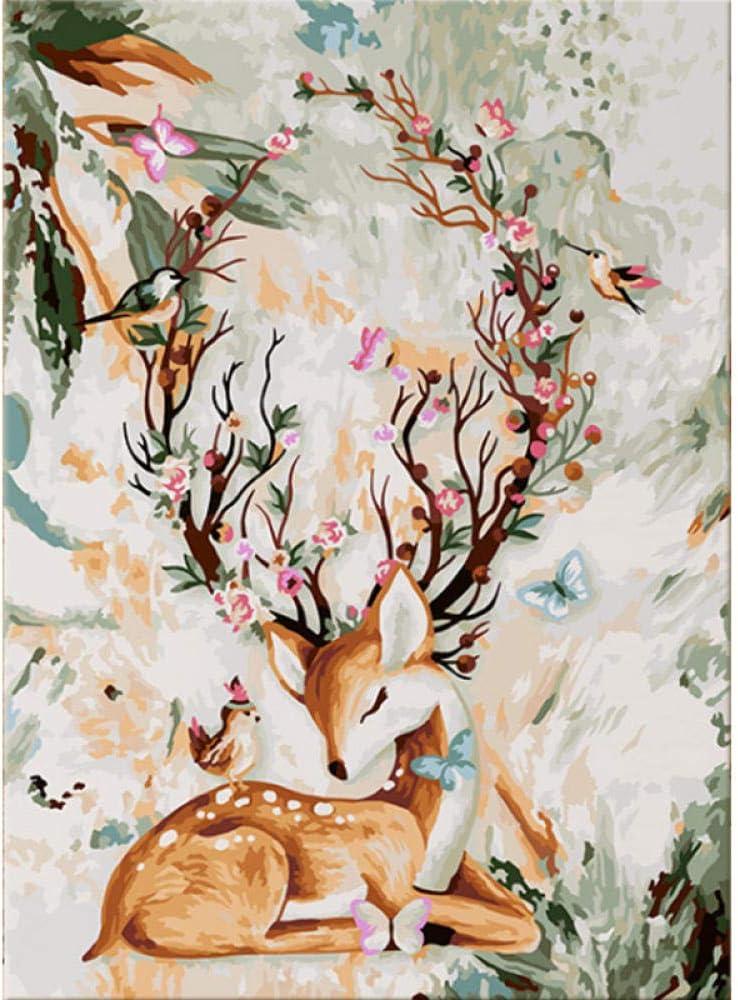 online shopping HRKDHBS Paint by Max 69% OFF Numbers Deer Animal Painting DIY Oil Acrylic Ki