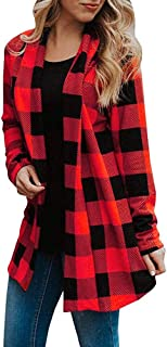 HGWXX7 Women's Buffalo Plaid Long Sleeve Coat Elbow Patch Draped Outwear Open Front Cardigans