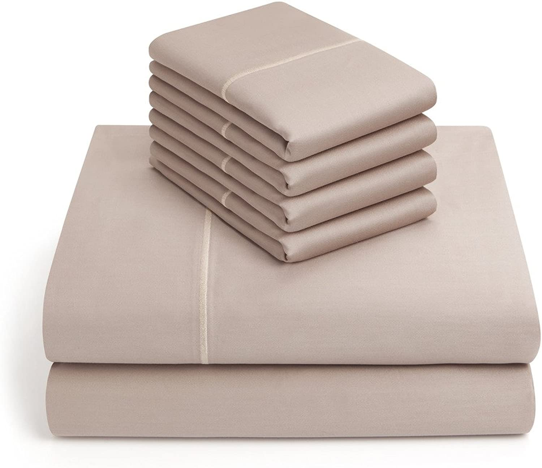 Vivendi 1000 Thread Count Wrinkle Resistant Cotton Blend 6 Piece Sheet Set - Queen, Taupe