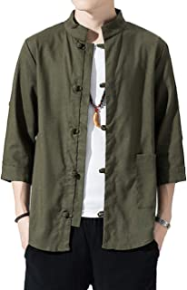 Zhhlinyuan Men Classic Chinese Kungfu Martial Arts Costume 3/4 Sleeve Button Linen Stand Collar Shirts Jacket