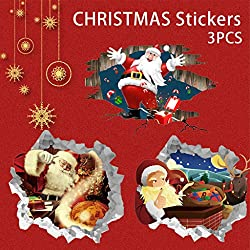 Wall Decals Removable DIY, 3D Santa Claus Gives Gifts Removable Floor Wall Sticker Christmas Decoration, Self-Adhesive Wall Murals for Home Decor