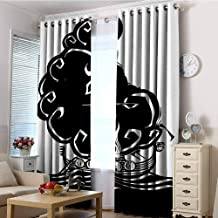 EwaskyOnline Home Curtains,Nordic Abstract Artwork of a Viking Chief Being Burned on a Longboat Norse Mythology,Curtains for Living Room,W84x72L Black and White