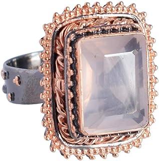 Ravishing Impressions Jewellery Anillo solitario de cuarzo rosa natural de plata de ley 925 para mujeres y niñas