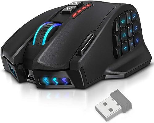 UtechSmart Venus Pro RGB Wireless MMO Gaming Mouse, 16,000 DPI Optical Sensor, 2.4 GHz Transmission Technology, Ergon...