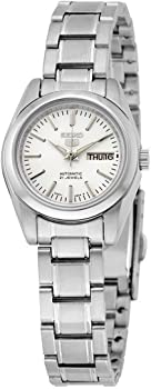 Seiko 5 Automatic Silver Dial Stainless Steel Ladies Watch