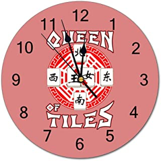 Queen of Tiles Mahjong and Tiles Game Lovers 10 inch Wall Clock, Silent, Graduated Battery Power, Suitable for Home Office and School use