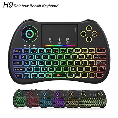 Meerveil Mini Wireless Toetsenbord, H9 2.4GHz RGB verlichting toetsenbord met touchpad muis oplaadbare combos voor Android TV Box, Kodi, HTPC, IPTV, PC, PS3, Xbox 360, Raspberry Pi 3, NVIDIA Shield TV