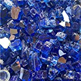 EasyGoProducts EGP-GLS-BLU-10 EasyGo Product Decorative Fire Pit Glass Rocks – Tempered High Luster, Blue