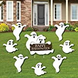 Big Dot of Happiness Spooky Ghost - Yard Sign and Outdoor Lawn Decorations - Halloween Party Yard Signs - Set of 8