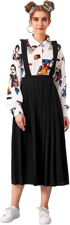 MakeMeChic Women's Pleated Hem Direct sale outlet of manufacturer High Suspender Skir Overall Waist