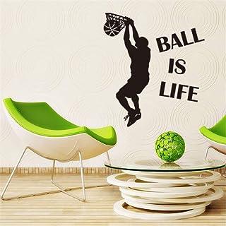 Dibujos animados Baloncesto Niño Etiqueta de la pared Deportes para niños Sala de estar Dormitorio Arte Decoración de la pared Decoración del hogar 57 * 117 cm