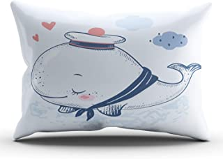 THUONY Bedroom Home Decor Cute Whale in a Sailor Suit Throw Pillow Cover Cushion Case Fashion One Side Printed King 20x36 Inches (Set of 1)