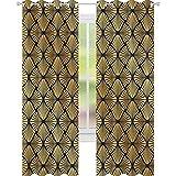 YUAZHOQI Cortinas sin costuras Art Deco Negro y dorado patrón de abanico, cortinas opacas para sala de estar de 132 x 274 cm