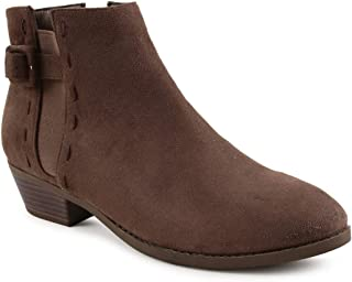 Chumbak Women's Brown Suede Buckled Up Dark Boots (38)