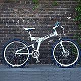 con Frenos De Disco Dobles Y Horquilla De Suspensión Bicicleta,24''26''Bicicleta Plegable para Adultos Estudiantes Chicos Chicas,21 Velocidad Plegable Bicicleta De Montaña-A-1 26inch