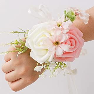 LESING Wrist Corsage Bracelets with Ribbon Wristband Bridal Bridesmaid Real Touch Wrist Flowers Hand Flower for Wedding Porm Party Decor,Set of 6 (Wrist Corsage)
