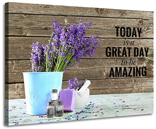 Bathroom Decor Purple Wall Decor Inspirational Quotes Modern Lavender for Bathroom Decor Prints Bathroom Decorations Canvas Wall Art Flowers on Vintage Wood Background Artwork for Home Blue Vase