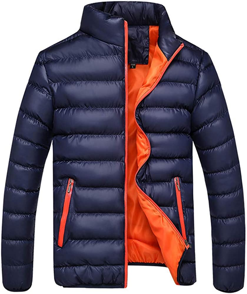 DIOMOR Casual Stand Collar Puffer Jacket for Men Classic Outdoor Warm Quilted Down Coat Windbreaker Contrast Color