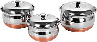 PARIJAT HANDICRAFT Stainless Steel Copper Bottom Multipurpose Cook & Serve Handi with Lid - 3 Pcs Set
