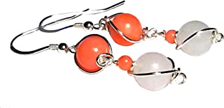 Coral and jade earrings; Pink peach coral and white jade gemstone earrings; Wire wrapped silver dangle drop earrings; 35th Anniversary earrings; Prom 2019 earrings; Handmade in WA;