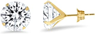 14K Solid Gold Solitaire Cubic Zirconia CZ Stud Earrings with Push Backs (3mm-8mm) …