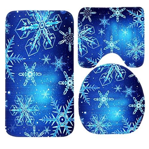 ZMvise Happy Winter Holiday Hermosas alfombras de baño de copos de nieve, juego de 3 piezas de alfombrillas de baño antideslizantes para baño