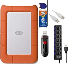 LaCie 301558 Rugged Mini USB 3.0/2.0 1TB External Hard Drive Bundle with USB Flash Drive, 7-Port 2.0 USB Hub, Air Duster Cleaner and 3' USB Extension Cable (5 Items)