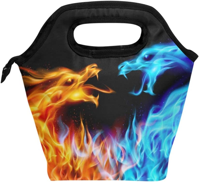 BETTKEN Cheap mail order shopping Lunch Bag Abstract Burnning Insulated Lu Reusable Opening large release sale Dragon