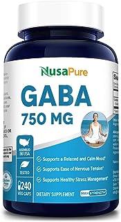 GABA 750 mg 240 Vegetarian caps (Non-GMO & Gluten Free) Gamma Aminobutyric Acid - Supports Positive Mood and Relaxation, N...