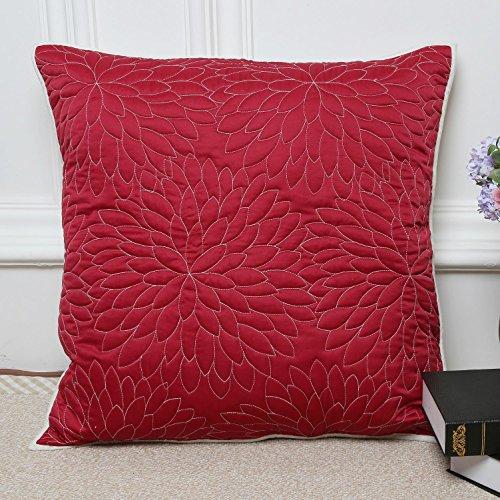 JJH-ENTER 1 pc Housse de Coussin en Soie Coussin Jeter Case Home Office Bar Décoratif Carré 65 * 65 cm (Rouge)