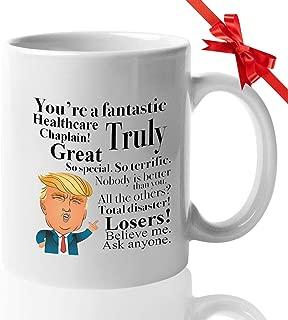Donald Trump Coffee Mug - 11 Oz Tea Cup Gift Ideas for Healthcare Chaplain Birthday Christmas President Conservative Republican