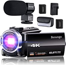 4K Camcorder, Video Camera, Live Streaming Vlogging YouTube Camera Camcorder 60FPS 48MP Ultra HD WiFi IR Night Vision 3.0