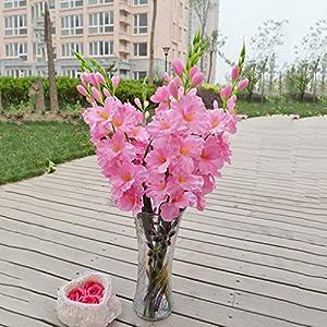 MonkeyJack Artificial Plants & Flowers Wedding Flower Gladioli Gladiolus stem 8 Colors – Pink, 80cm