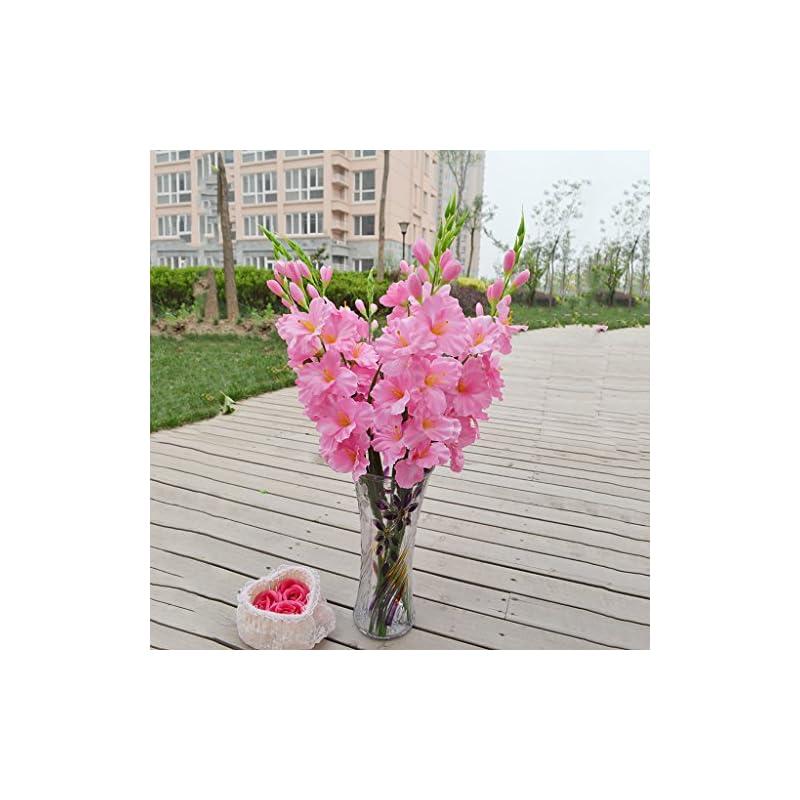 silk flower arrangements monkeyjack artificial plants & flowers wedding flower gladioli gladiolus stem 8 colors - pink, 80cm