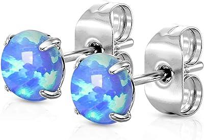 Tata Giselele, orecchini in acciaio chirurgico 316L e opale – opale blu o bianco incastonati in acciaio argentato – diverse misure