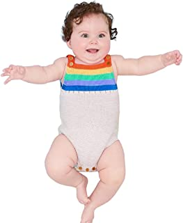 mimixiong Baby Romper Toddler Knit Jumpsuit Rainbow Sleeveless Sunsuit