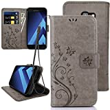 KUAWEI Coque Samsung Galaxy A5 2017 Etui Cuir Galaxy A5 2017 Cover Samsung A5 2017 Coque Flip Cover avec Fonction Stand et Fente Carte Portefeuille Housse pour Samsung Galaxy A5 2017 5.2' (Gris)