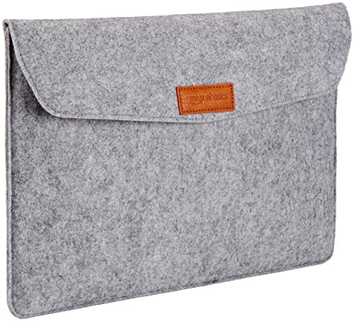 Amazon Basics 15.4' Felt Laptop Sleeve - Light Grey